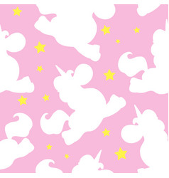 White unicorn pattern on pink vector
