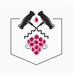 wine grape with corkscrew logo on white vector image