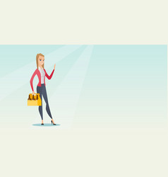 Woman with pack of beer vector