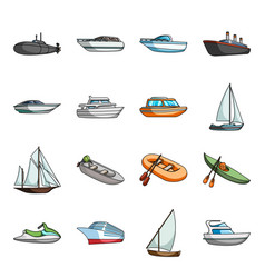 Yacht boat liner types ship and water vector