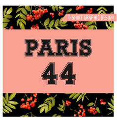 autumn t-shirt floral paris graphic fall travel vector image vector image