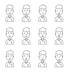 boy face expressions set collection vector image vector image
