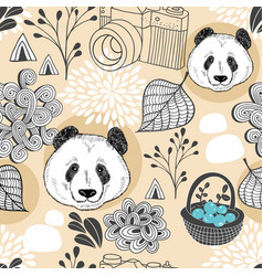 colorful seamless pattern with cute animals and vector image