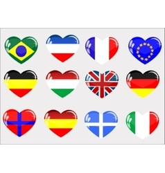 Flags glass heart vector image