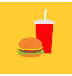 Hamburger and soda with straw Cinema icon in flat vector image vector image