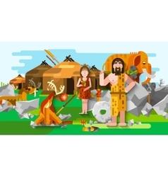 Prehistoric Stone Age Caveman Composition vector image vector image