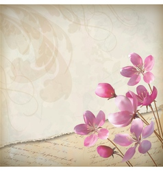 Realistic floral spring grunge background vector image vector image