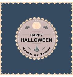 Halloween round circle logo sign with pumpkin vector image
