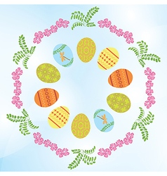 light blue background with easter eggs and flowers vector image vector image