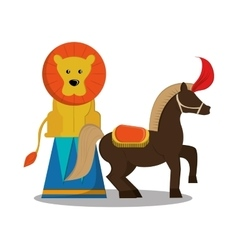Lion and horse of carnival design vector