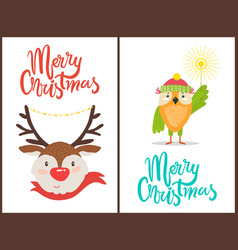 merry christmas banners with friendly animals vector image