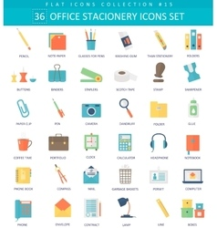 Office stacionery color flat icon set vector image vector image