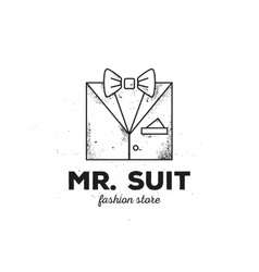 outline man suit logo with old style grunge vector image