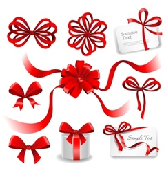 Set of red gift bows with ribbons vector image