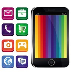 Touchscreen phone with rainbow wallpaper vector
