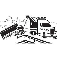 Tractor pulls on road crashed truck vector image vector image