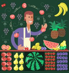 cartoon character fruit seller vector image vector image