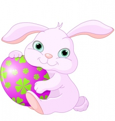 Easter rabbit holds egg vector image vector image