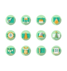 Happy New Year flat round icons vector image vector image
