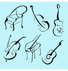 music instruments design set vector image vector image