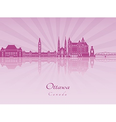 Ottawa V2 skyline in purple radiant orchid vector image