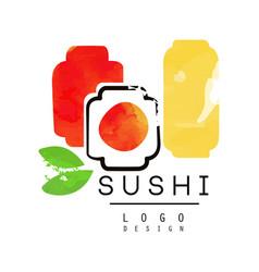 sushi logo design japanese food label badge for vector image