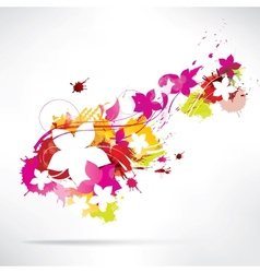Abstract background with splash and flowers vector image