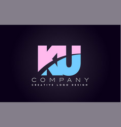 ku alphabet letter join joined letter logo design vector image vector image