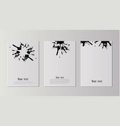 a set of a4 sheets with black blots sticking on a vector image
