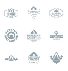 Alpine logo set simple style vector