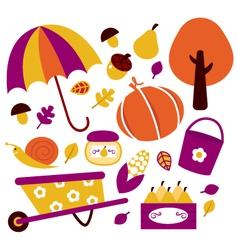 Autumn garden design elements vector image