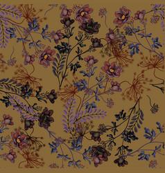 Autumn seamless pattern of wild flowers vector