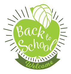 back to school colorful doodle lettering sign of vector image