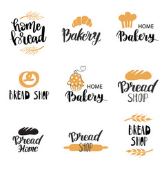 bakery dessert shop or bakehouse logo set vector image
