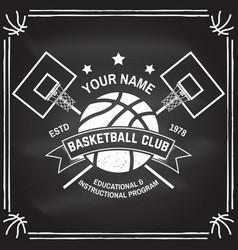 Basketball club badge on the chalkboard vector