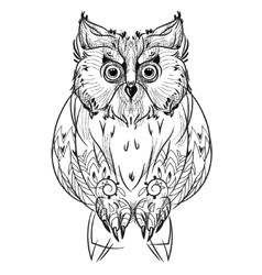 Bird owl head triangular icon vector image