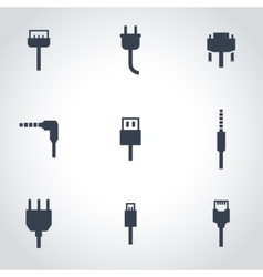 black plug icon set vector image