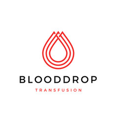blood drop transfusion logo icon vector image