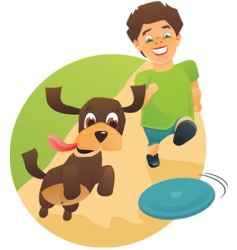 boy dog vector image