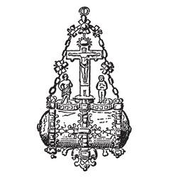 Brooch diamond vintage engraving vector