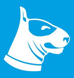 bull terrier dog icon white vector image