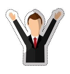 businessman avatar with hands up vector image