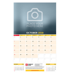 Calendar planner template for 2018 year october vector