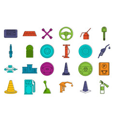 car tool icon set color outline style vector image