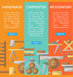 Carpenter woodwork posters in flat style vector