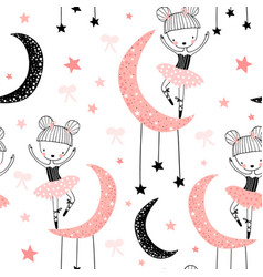 childish seamless pattern with cute hand drawn vector image