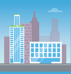 city view with two modern buildings color card vector image