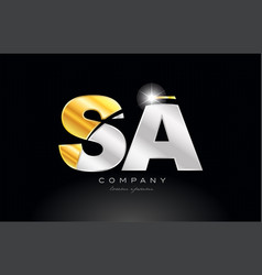 Combination letter sa s a alphabet with gold vector