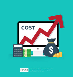 Cost fee spending increase with red arrow rising vector
