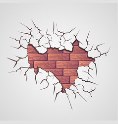 Cracks with brick wall vector